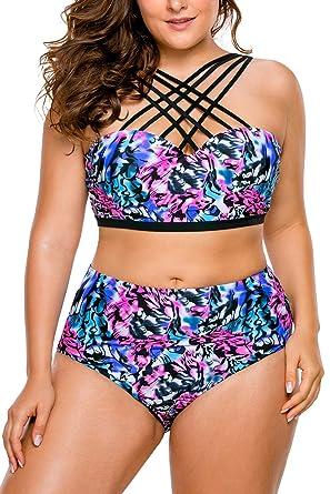 f53ca733458 Lalagen Women s Plus Size Strappy High Waist Bikini Two Piece Swimsuit  Tankini Floral XXXXL