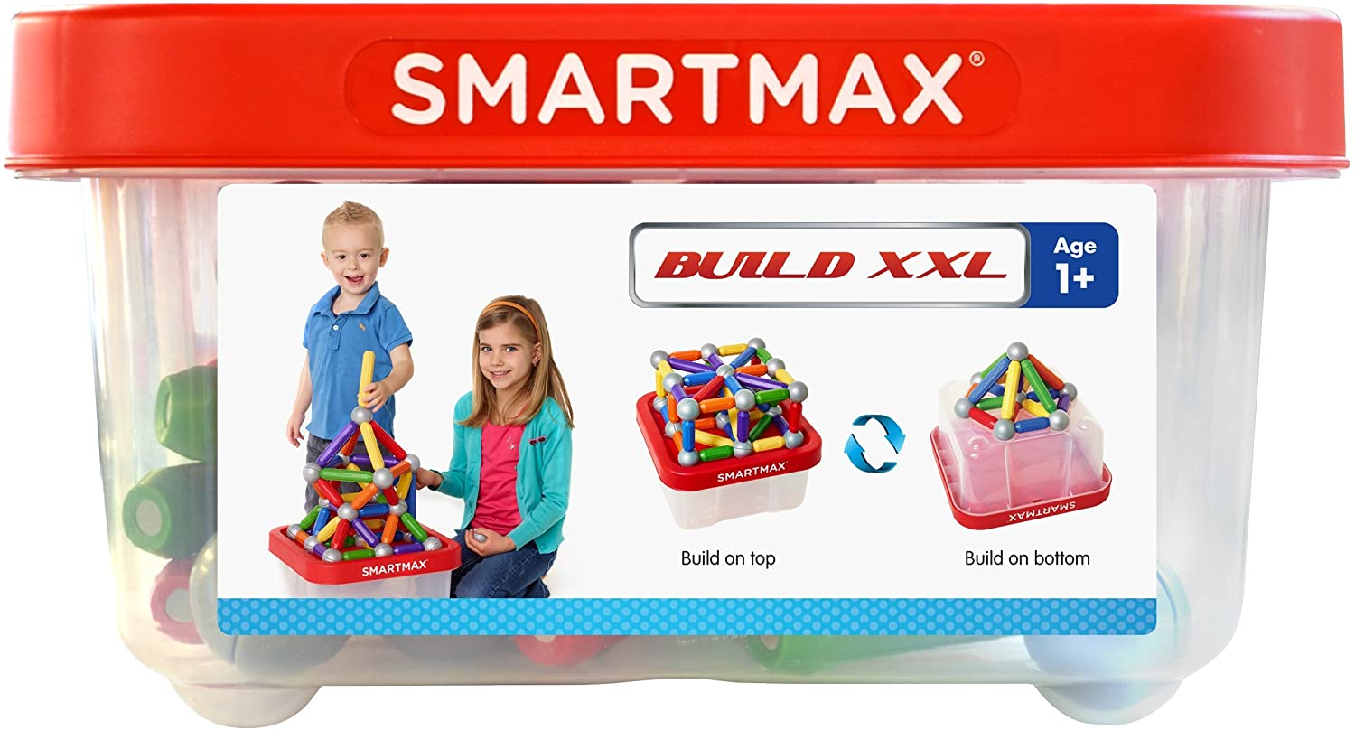 SmartMax Build XXL (70 pcs) STEM Magnetic Discovery Building Set Featuring Safe, Extra-Strong, Oversized Building Pieces and Sturdy Storage Case for Ages 3+