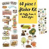 60 Piece! Travel, Road Trip & Nature Theme Scrapbook Stickers Kit | Vintage Stickers Assortment | Perfect for Scrapbooking, Card Making, Bullet Journal & Planner Stickers by PaperPassion