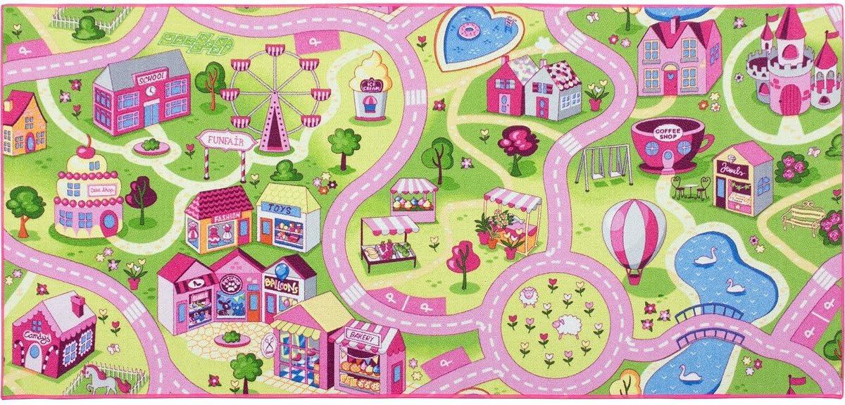 Gr/ö/ße:80x150 cm BilligerLuxus Kinderteppich M/ädchen Stra/ßenteppich Spielteppich Sweet Town in vers Gr/ö/ßen