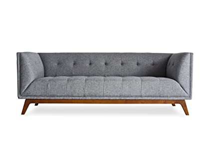 REGENT PARK Midcentury Modern Sofa - Mid-Century Sofas for Living Room - Tufted French Grey Fabric