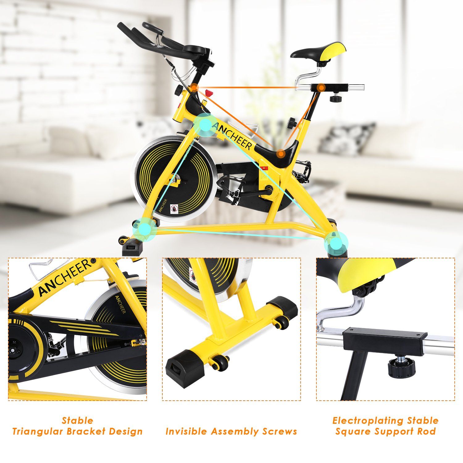 ANCHEER Stationary Bike, 40 LBS Flywheel Belt Drive Indoor Cycling Exercise Bike with Pulse, Elbow Tray (Model: ANCHEER-A5001) (Yellow) by ANCHEER (Image #9)