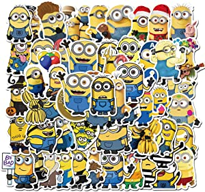 50PCS Minions Stickers for Water Bottle Hydro Flask Laptop MacBook Skateboard Suitcase School Bags for Kids