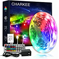 CHARKEE Led Lights for Bedroom 16.4ft, 1 Roll of 16.4ft Led Light Strips with Remote and Power Supply for Bedroom, Room…