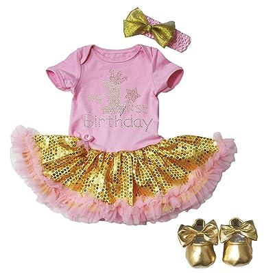 4328dc075bb4 My 1st Birthday Baby Dress Pink Bodysuit Gold Sequins Tutu Romper Shoes  Nb-18m  Amazon.co.uk  Clothing