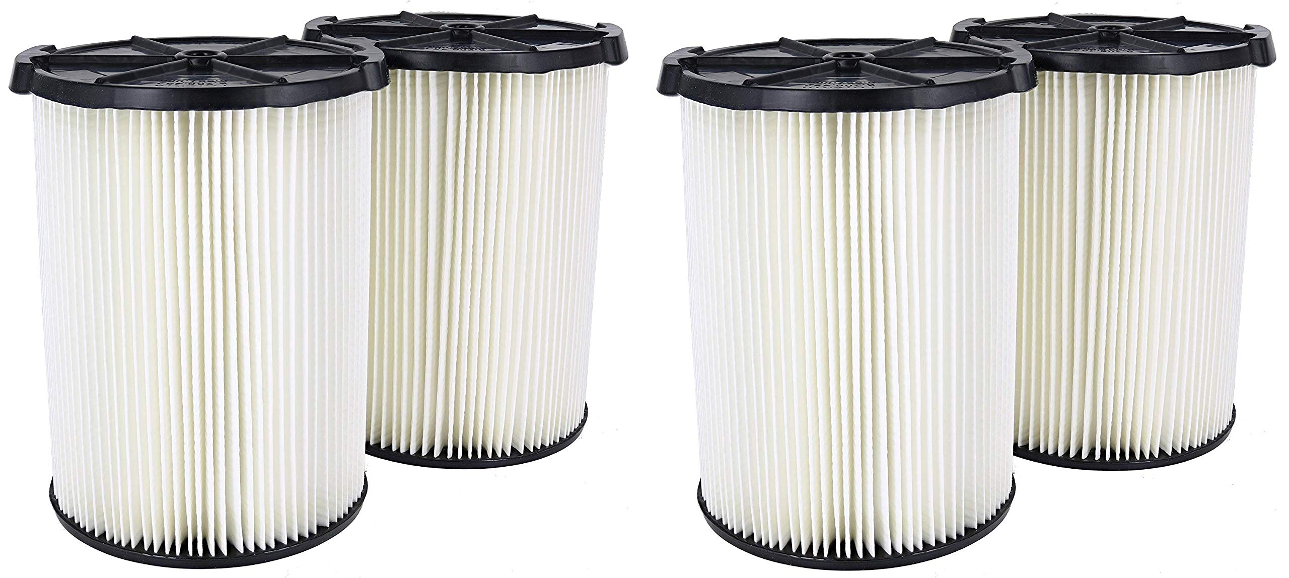Ridgid VF4200 Genuine Replacement 1-Layer Everyday Dirt Wet/Dry Vac Filter for Ridgid 5-20 Gallon Vacuums (2 X Pack of 2) by Ridgid