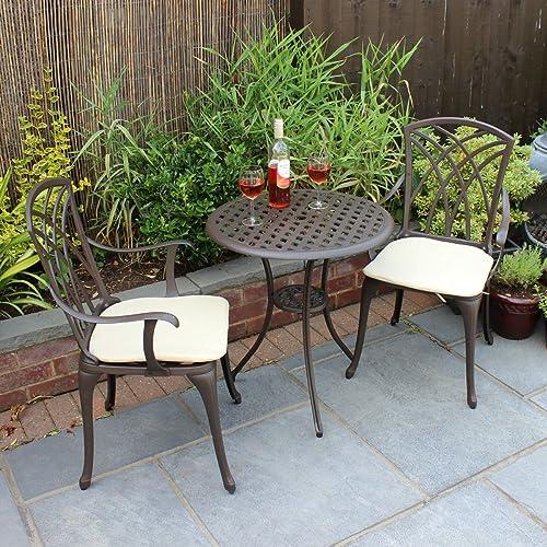 Bentley Garden Wrought Iron Set Of 2 Metal Obelisks: French Ornate Cream Wrought Iron Metal Garden Table And