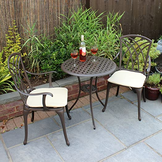 bentley garden furniture 3 piece cast aluminium bistro set table 2 arm chairs