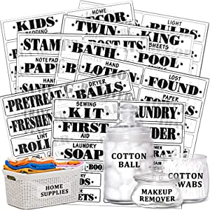 170 Pieces Laundry Room, Linen Closet Home Canister Office Organization Labels Water Resistant Printed Stickers for Large Laundry Room Bath Bin Space Labels, 34 Blank Sticker Labels Included