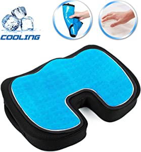 SUPA MODERN Gel Seat Cushion Cooling Coxyx Seat Cushions for Pain Relief with Removable Cover Memory Foam Seat Cushion for Car Office Seat Cushions for Chair-Tailbone,Sciatica Pain Relief