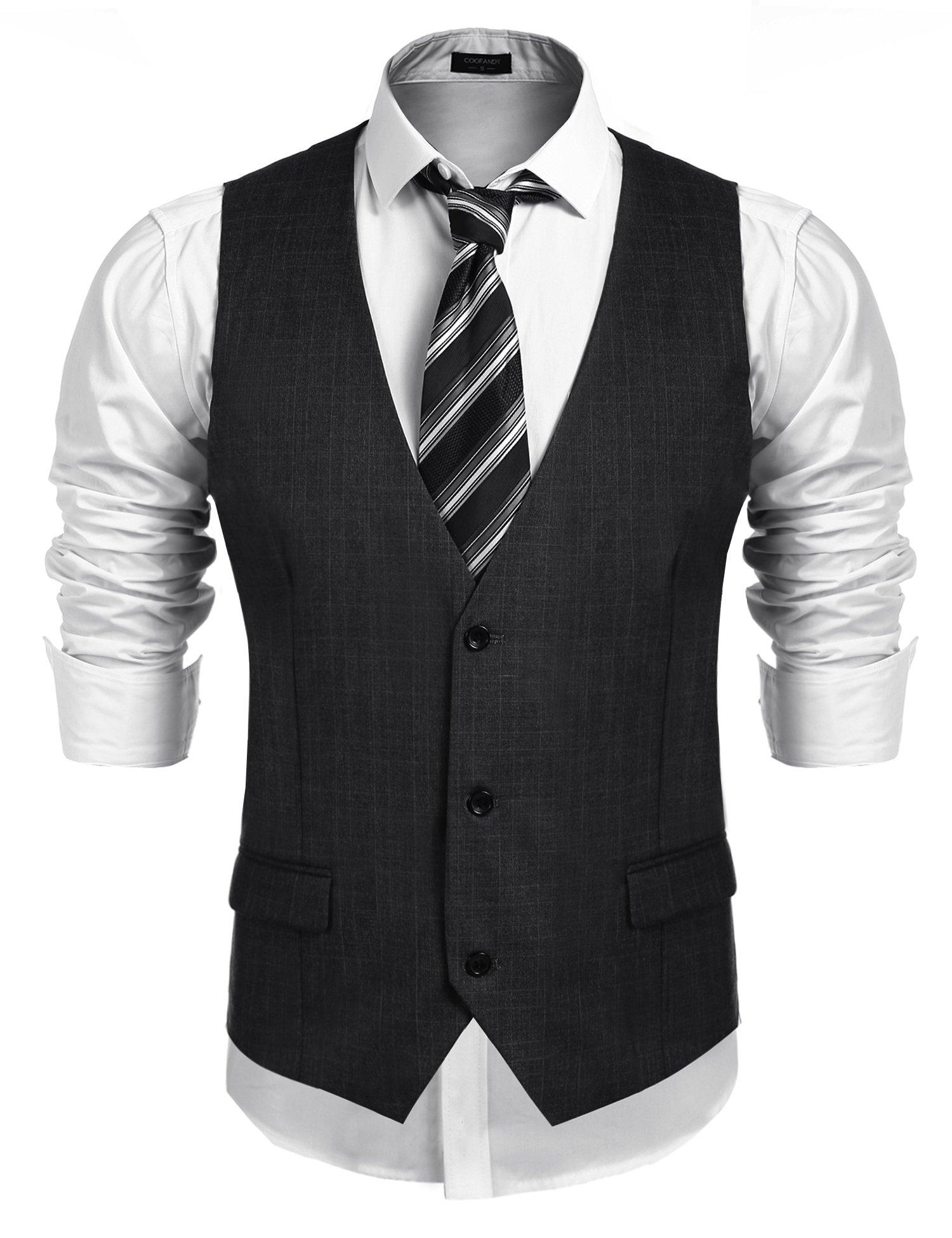 COOFANDY Men's Business Suit Vest,Slim Fit Skinny Wedding Waistcoat, Dark Gray, XX-Large