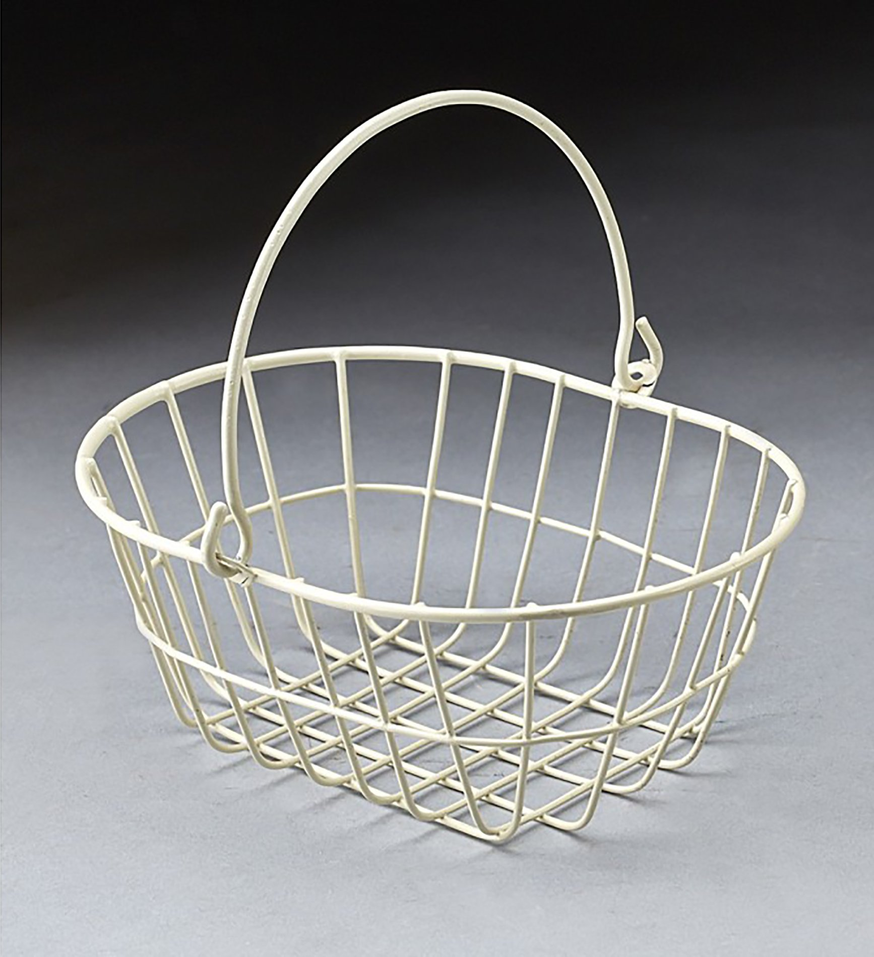 Amazon.com : White wire metal rectanguler basket with drop handle : Baby