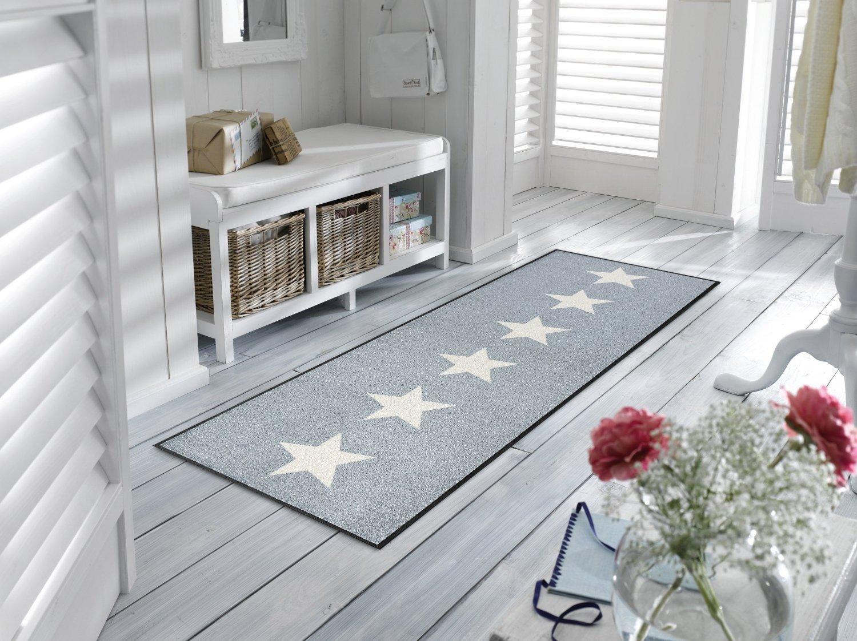 Sehr hochwertiger Küchenläufer Größe ca. 60 x 180 cm - Küchenmatte grau - Stars - Sterne - Dekoläufer für Küche und Bar   Teppich Läufer Küche   waschbare Küchenläufer   Küchendeko Modell ,