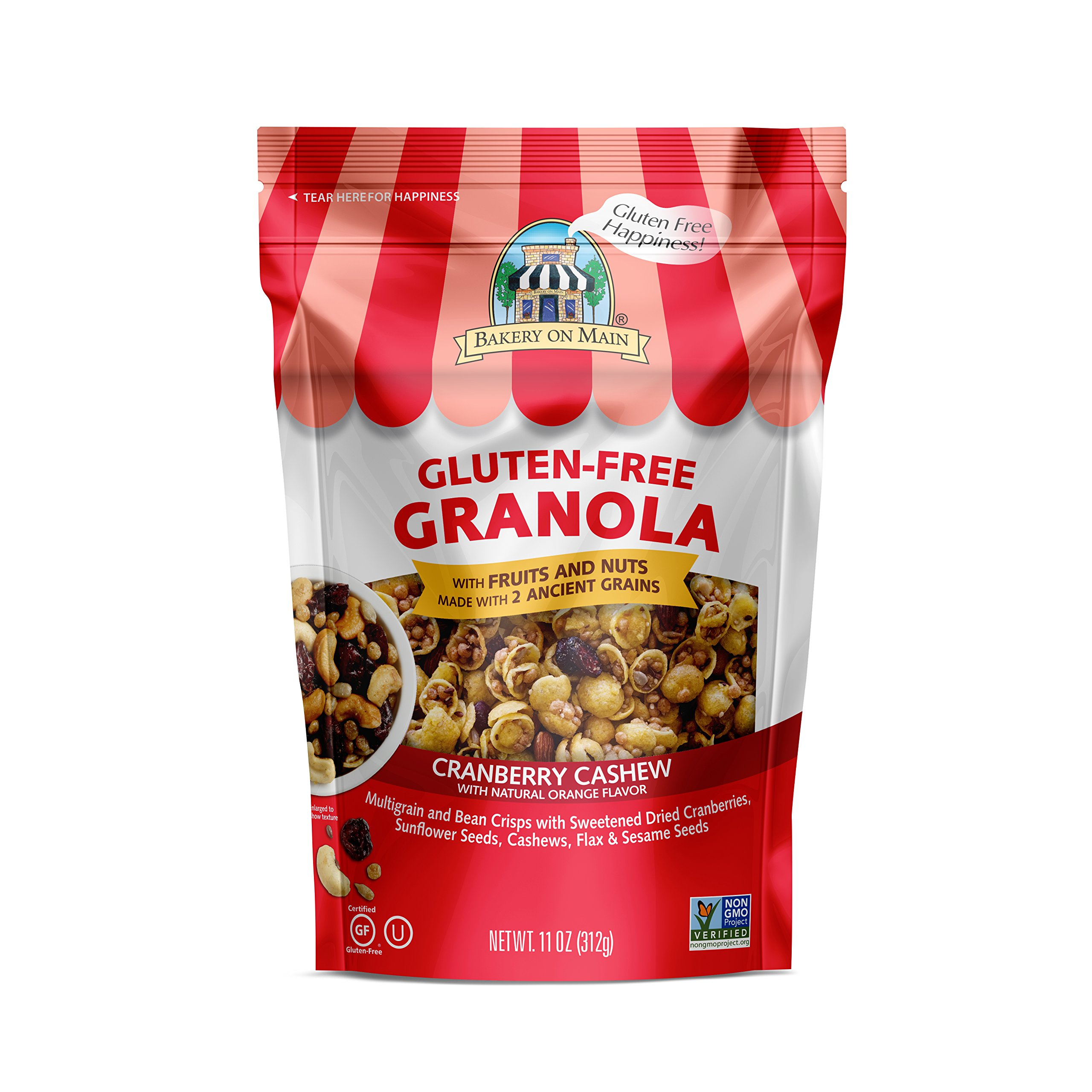 Bakery On Main Gluten-Free, Non GMO Granola, Cranberry Cashew With Natural Orange Flavor, 11 Ounce (3 Count)