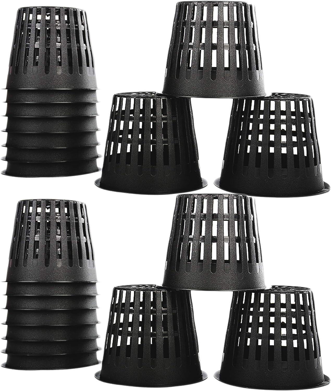 Slotted Mesh Pot Hydroponics Cups Plastic Net Cups Pots EOPER Net Slit Pots for Hydroponic Aeroponic Use 20 Pieces Heavy Duty Plastic Plant Nursery Basket for Balcony Planting Black