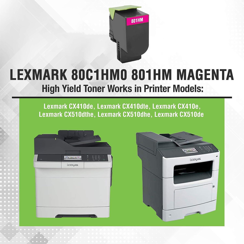 80C1HM0 801HM Be Green Ink Compatible Replacement Magenta Toner Cartridge for Lexmark CX410de CX510de CX410dte CX410e CX510dthe CX510dhe High Yield