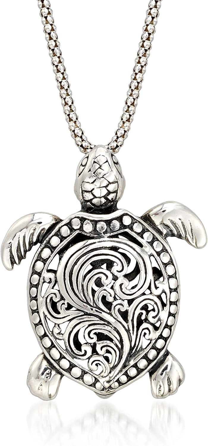 Ross-Simons Sterling Silver Turtle Pendant Necklace For Women 18 Inch 925