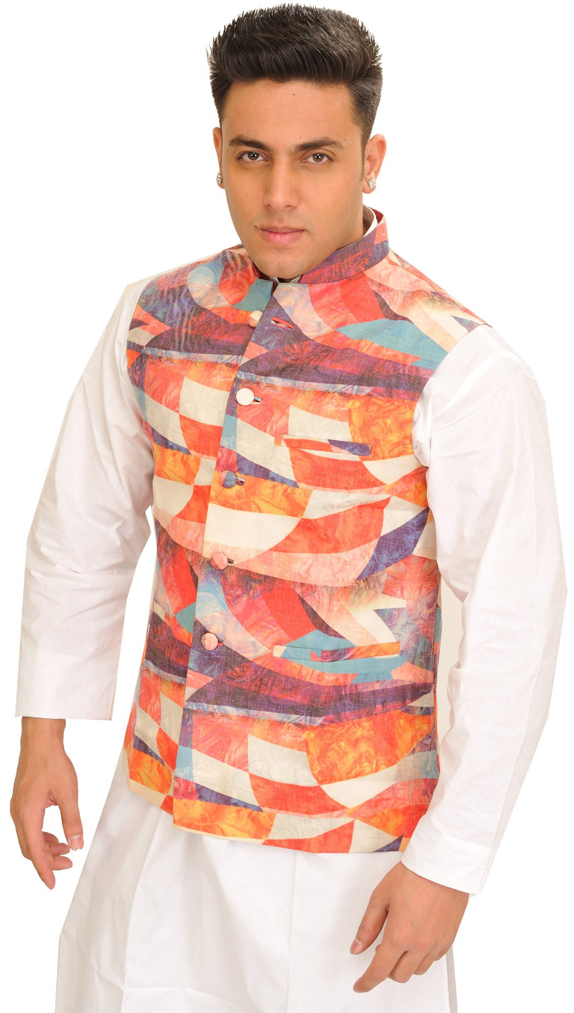 Exotic India Multicolor Waistcoat With A - multicolored Size 38