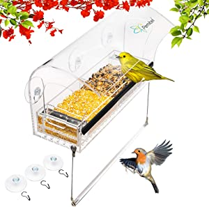 Bird Feeders for outside.Window bird feeders with strong suction cups,hanging perch for wild birds finch,Cardinal and Bluebird bird feeder.Removable seed and water tray.Bird house.Squirrel proof.