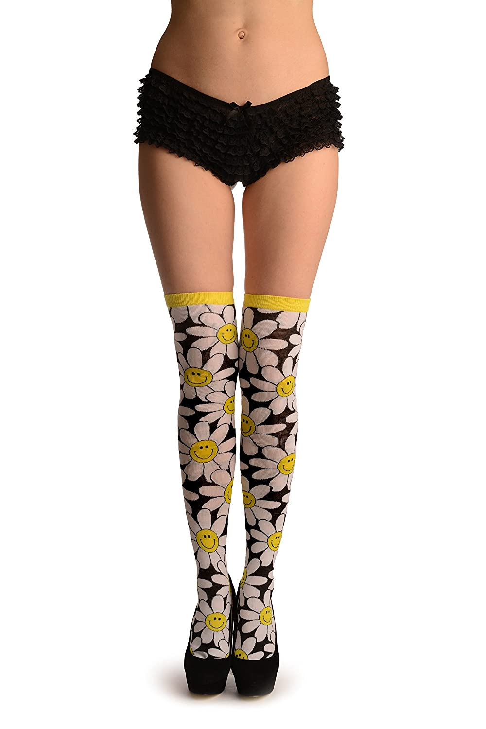 6d8df6441 White Woven Daisy Flowers On Black - White Floral Over The Knee Socks   Amazon.co.uk  Clothing