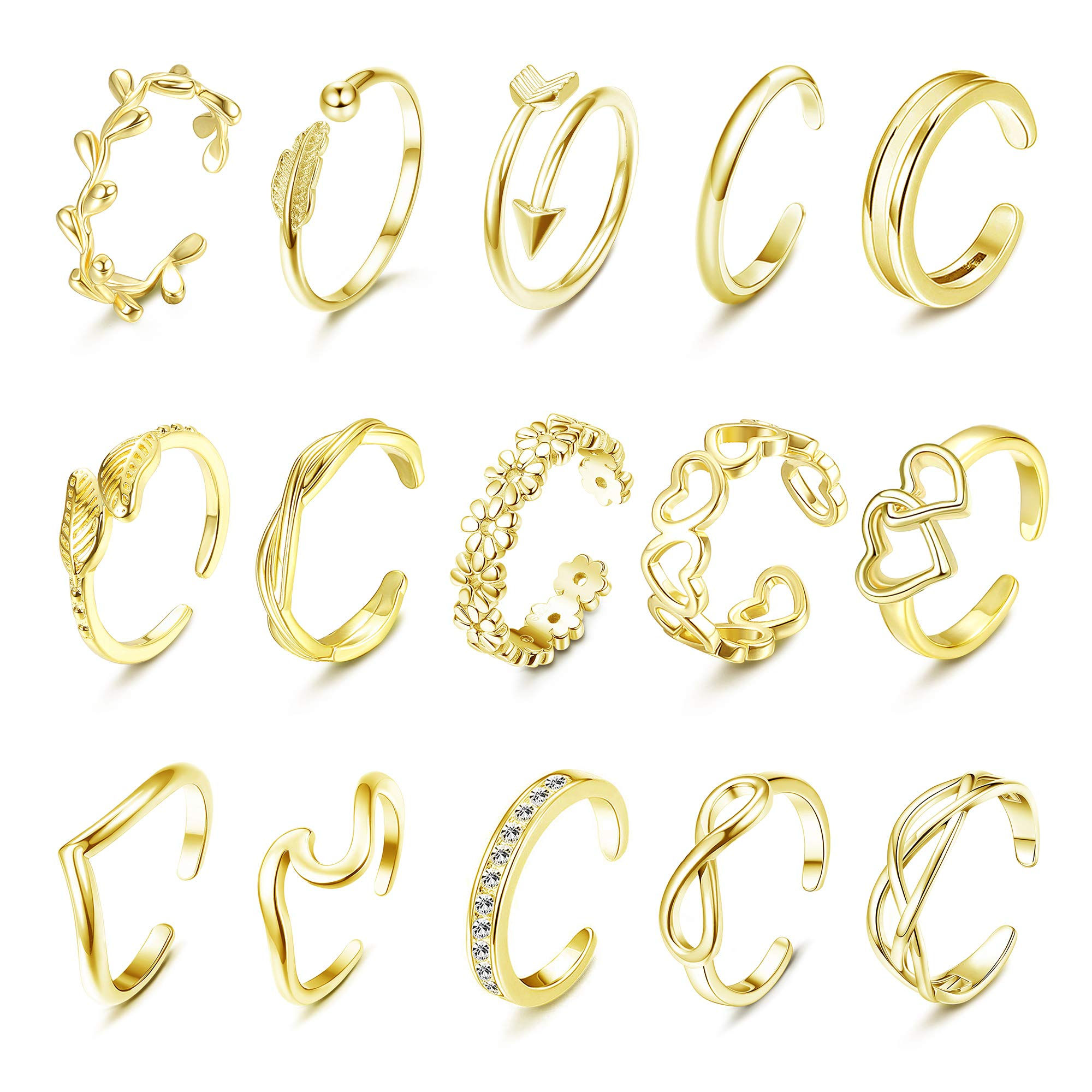 sailimue 15 Pcs Adjustable Toe Rings for Women Flower Heart Arrow Wave Toe Ring Silver Gold Rose Gold Open Toe Ring Set Silver Gold Rose Gold Women Beach Foot Jewelry