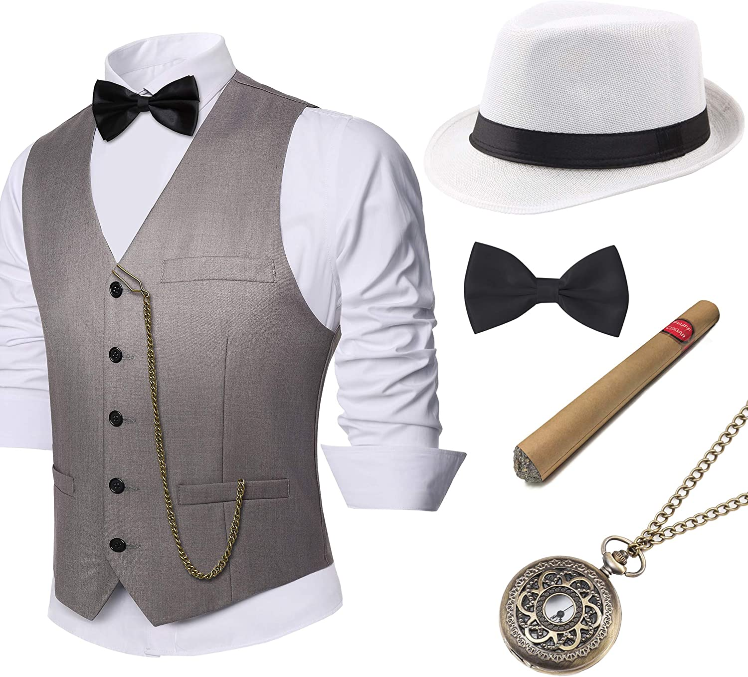 BABEYOND 1920s Mens Gatsby Gangster Vest Costume Accessories Set Fedora Hat