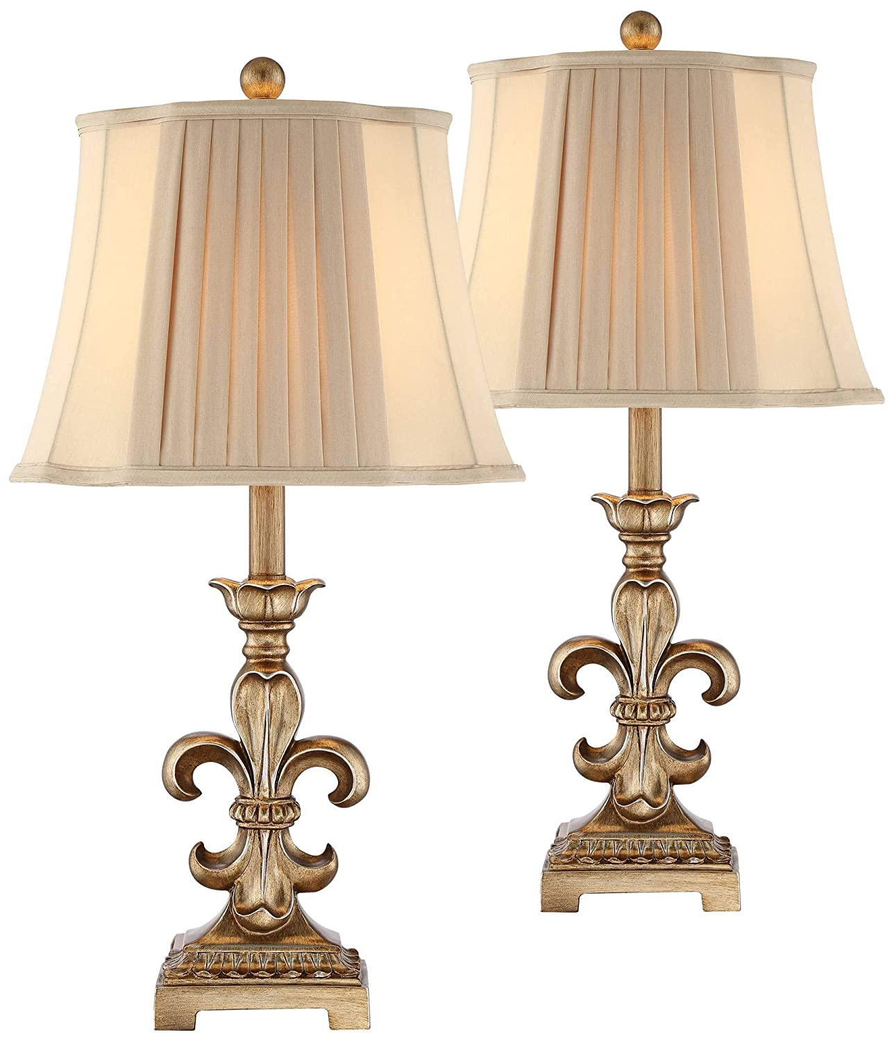 Louis Traditional Table Lamps Set of 2 Antique Gold Pleated Bell Shade for Living Room Family Bedroom Bedside - Regency Hill