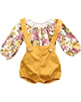 Baby Girls Long Sleeve Princess Floral Romper+ Suspenders Short Pants Overall Jumpsuit Outfit