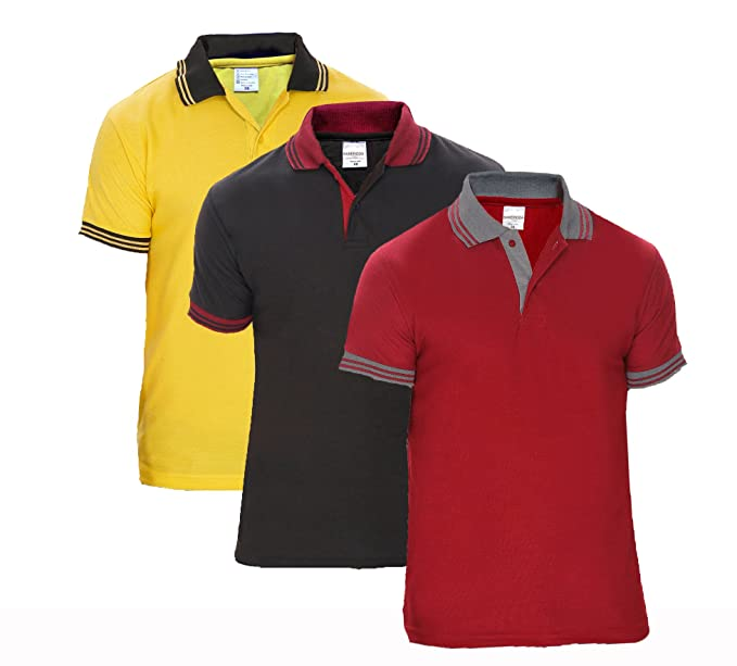 0dbc9385 Baremoda Men's Polo T Shirt Maroon Black Yellow Combo Pack of 3 (Medium)