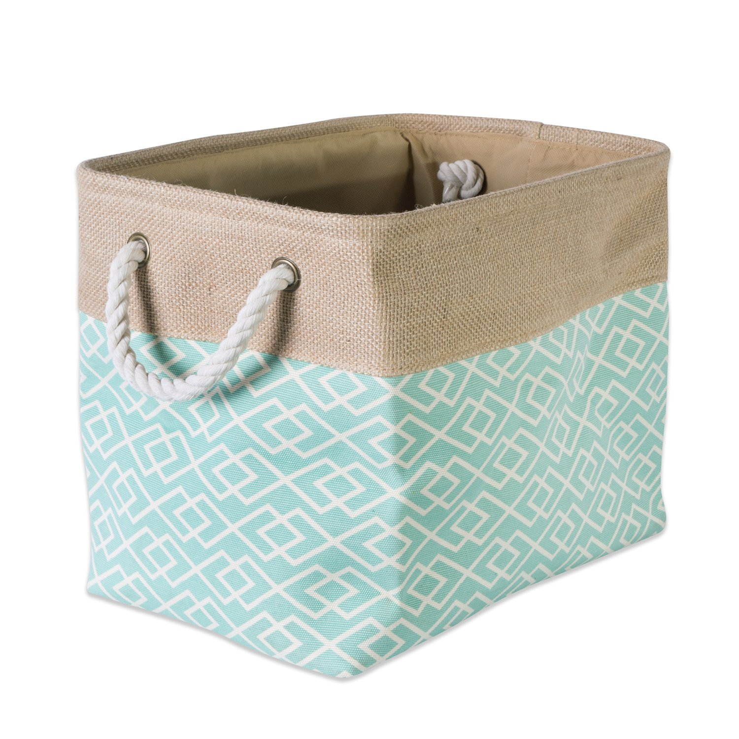 DII Collapsible Burlap Storage Basket or Bin with Durable Cotton Handles, Home Organizational Solution for Office, Bedroom, Closet, Toys, Laundry (Medium - 16x10x12), Diamond Aqua by DII