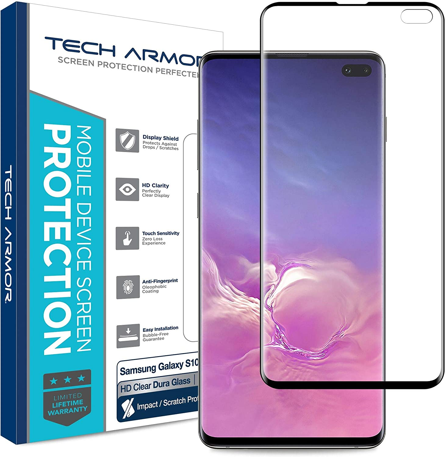 1-Pack Tech Armor Dura Glass Screen Protector Designed for Samsung Galaxy S10 Plus Scratch and Impact Protection with Easy Installation Tool - Ultra-Thin Hybrid Glass Case-Friendly