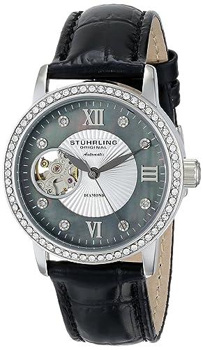 Stuhrling 710.02 - Reloj para Mujeres, Correa de Cuero Color Negro: Amazon.es: Relojes