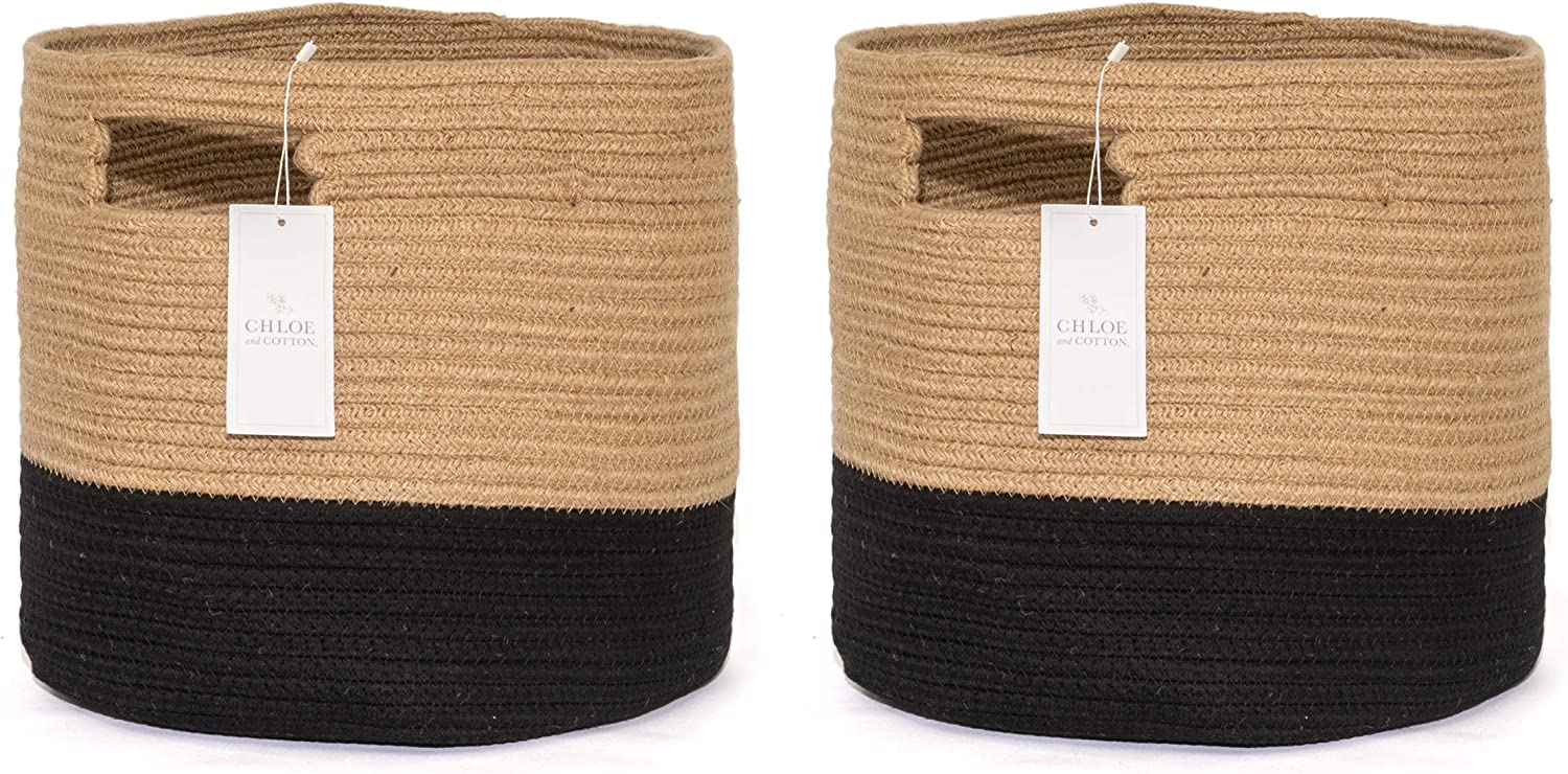 Chloe and Cotton Woven Fabric Cube Storage Baskets 13 X 13 | Rope Cubby Storage | Kids Laundry Hamper Dog Toy Basket Large Storage Organizer Bin - Jute Black