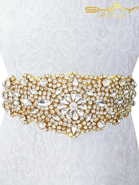 ShinyBeauty Bridal sash Gold bridal sash pearl bridal sash for bridal shower ~RA124