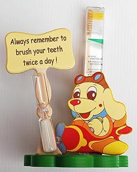 Perro soporte para cepillos de dientes con cepillo de dientes y temporizador - Italiano - hechos a mano a partir de madera: Amazon.es: Hogar