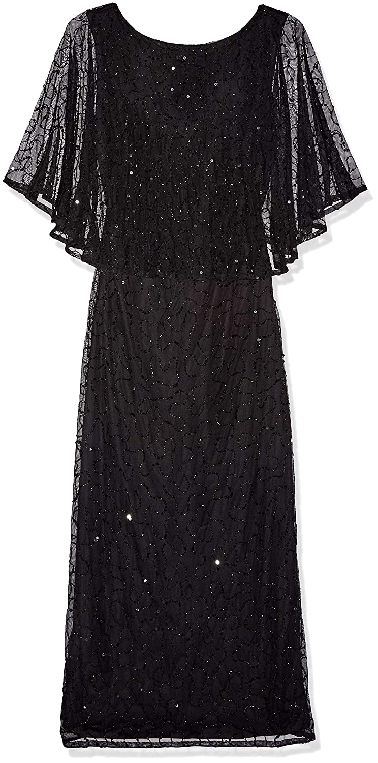 Black Flapper Dresses, 1920s Black Dresses Pisarro Nights Womens Long Beaded Scroll Motif Dress Special Occasion £238.51 AT vintagedancer.com