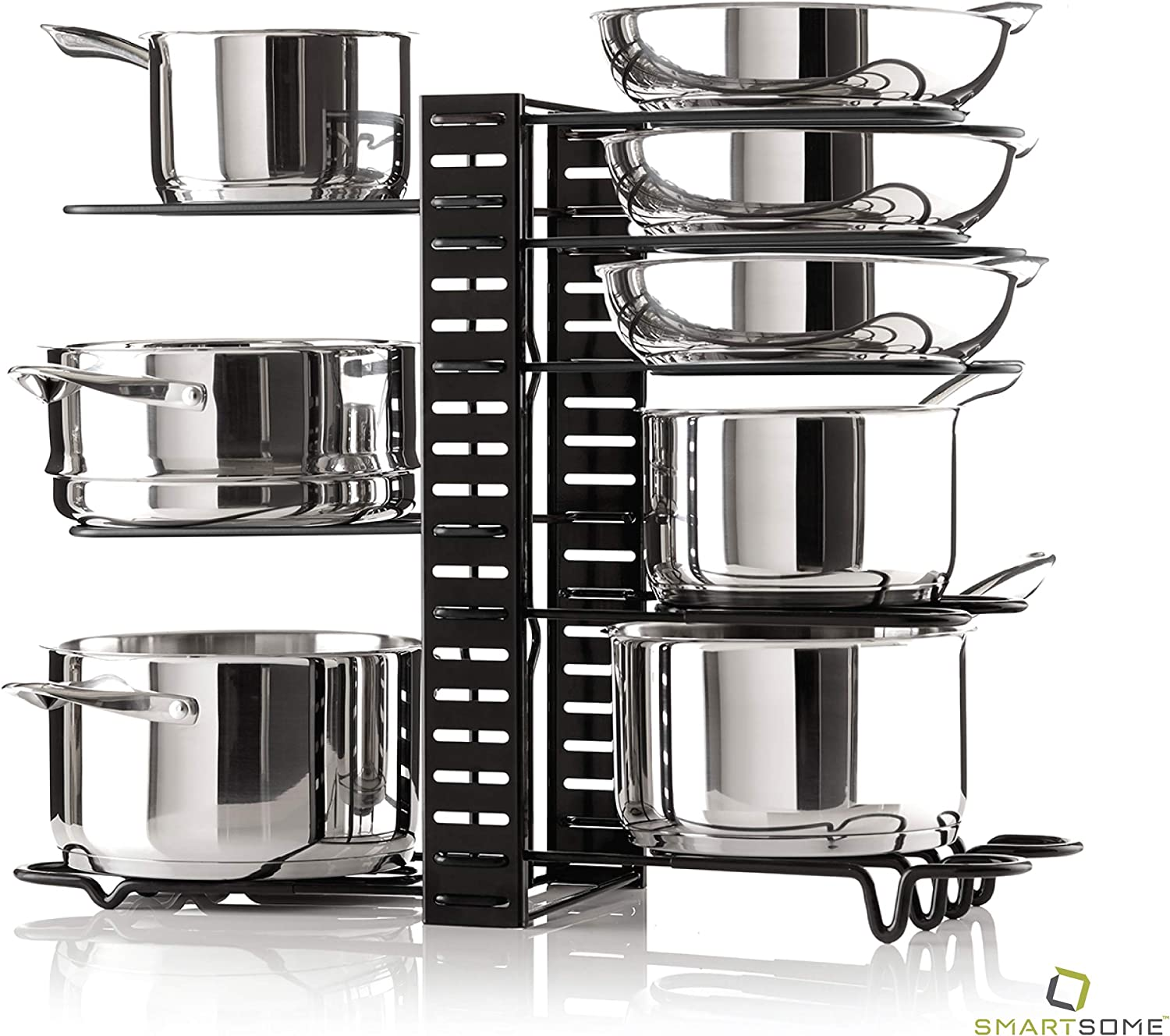 Smartsome Cabinet Organizer - Adjustable Pot Rack Holds A Minimum Of 8+ Pots, Pans And Lids - 3 Different DIY Ways To Use The Pots And Pans Organizer Including On The Counter