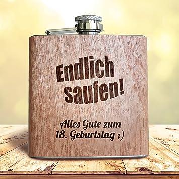 Amazon De Holz Flachmann Geschenk Zum 18 Geburtstag Endlich Saufen
