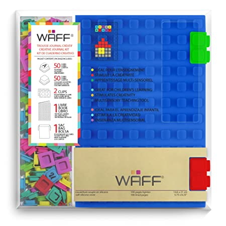 """WAFF Soft Silicone Cover Combo Personalized Notebook / Journal, Large 8.25"""" x 5.5"""", Black"""