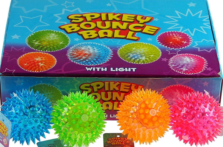 2xQuality Set of 12 Flashing Spike Ball Spikey Massage Bounce Light /& Sound Sensory Stress.