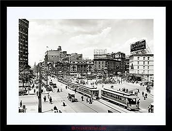 VINTAGE PHOTO CITYSCAPE WOODWARD AVENUE 1917 DETROIT FRAMED PRINT F12X5388