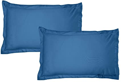 Amazon Brand - Solimo Solid 144 TC 100% Cotton 2 Piece Pillow Covers, 18