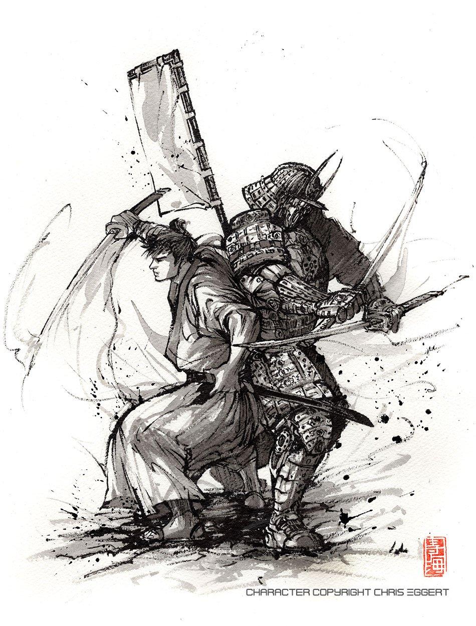 Samurai Duo Steampunk PRINT 8x10 Armor and Katana Sumi Ink 3