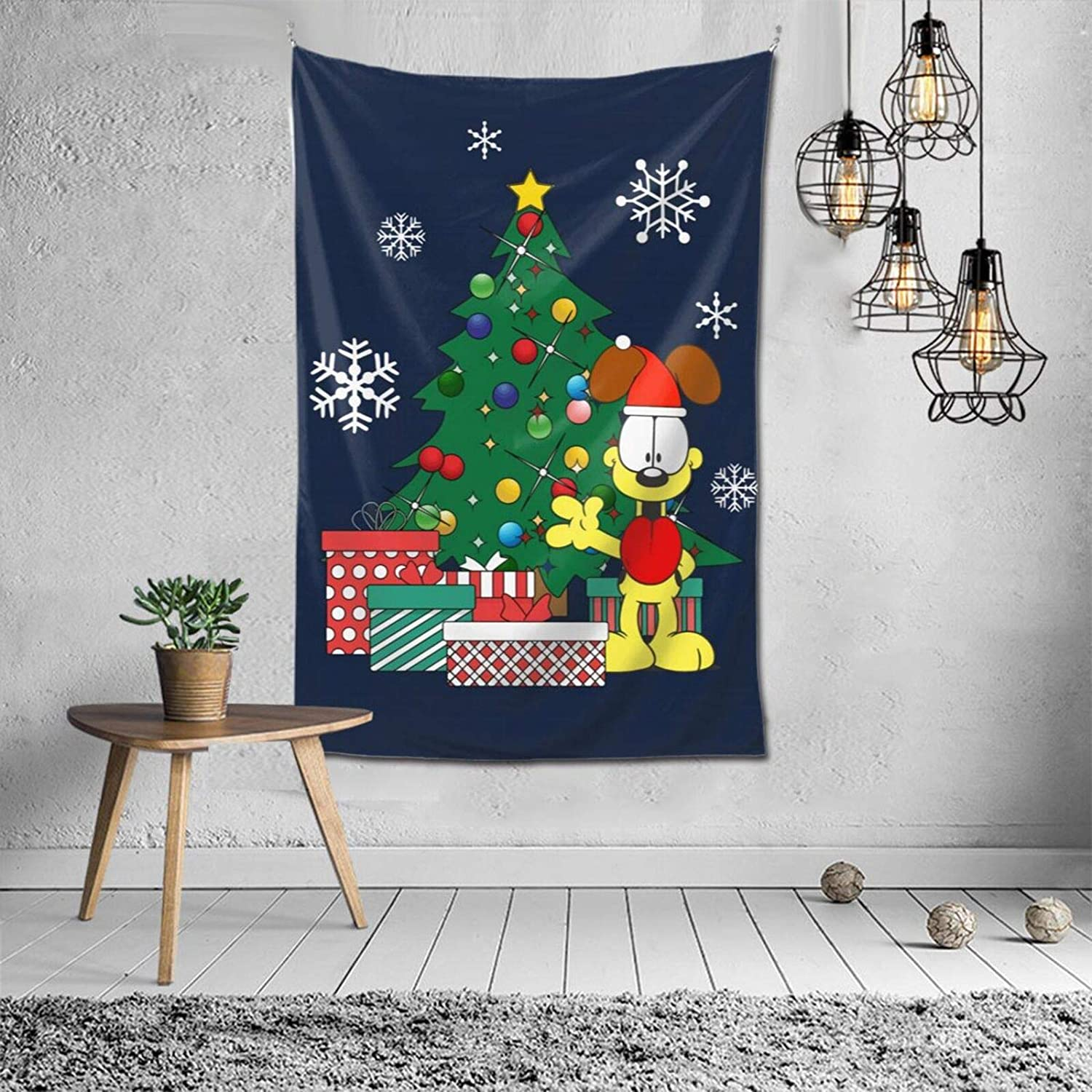 Vertical Tapestry Garfield Odie Around The Christmas Tree Wall Tapestry Anime Fans Home Dorm Wall Decor 60x40 Inches