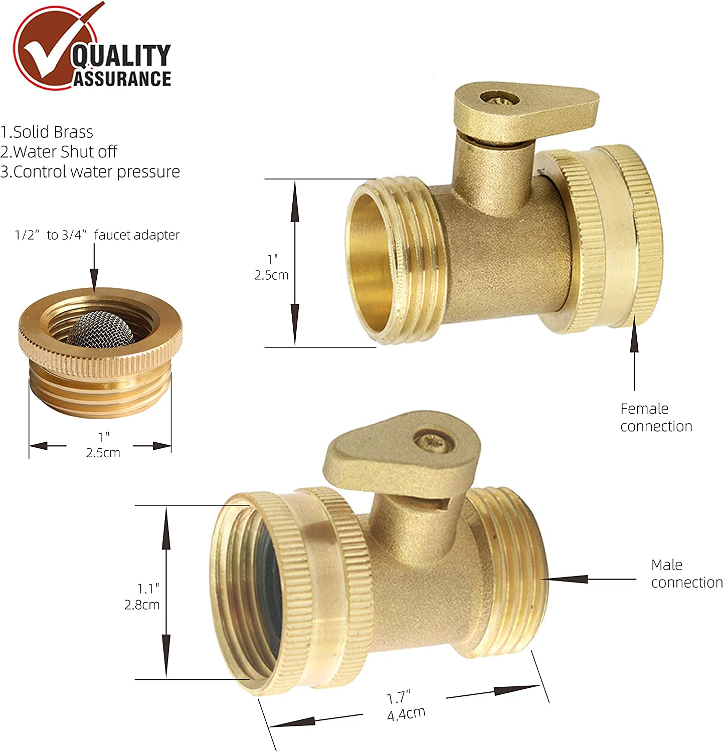 Heating for Potable Water Distribution Garden Hydronic Heating Good Sealing Shut‑Off Valve Corrosion Resistance 5pcs Ball Valve Connector
