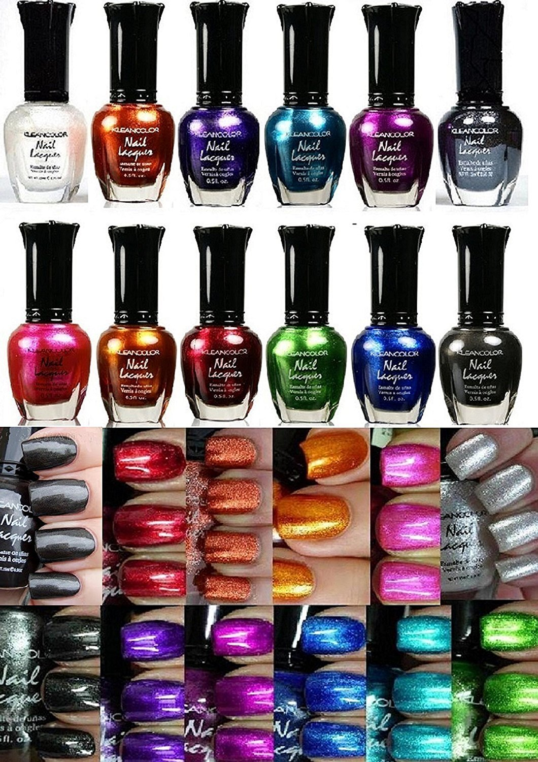 Amazon.com : KLEANCOLOR NEON COLORS 12 FULL COLLETION SET NAIL ...