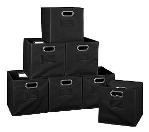 Set of 12 Cubo Foldable Fabric Bins- Black