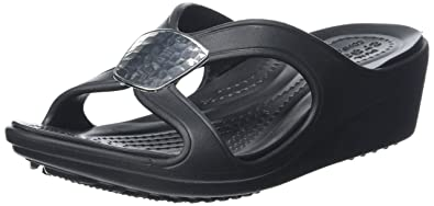Crocs Women's Sanrah Embellished Wedge Sandal, Black/Silver Metallic, ...