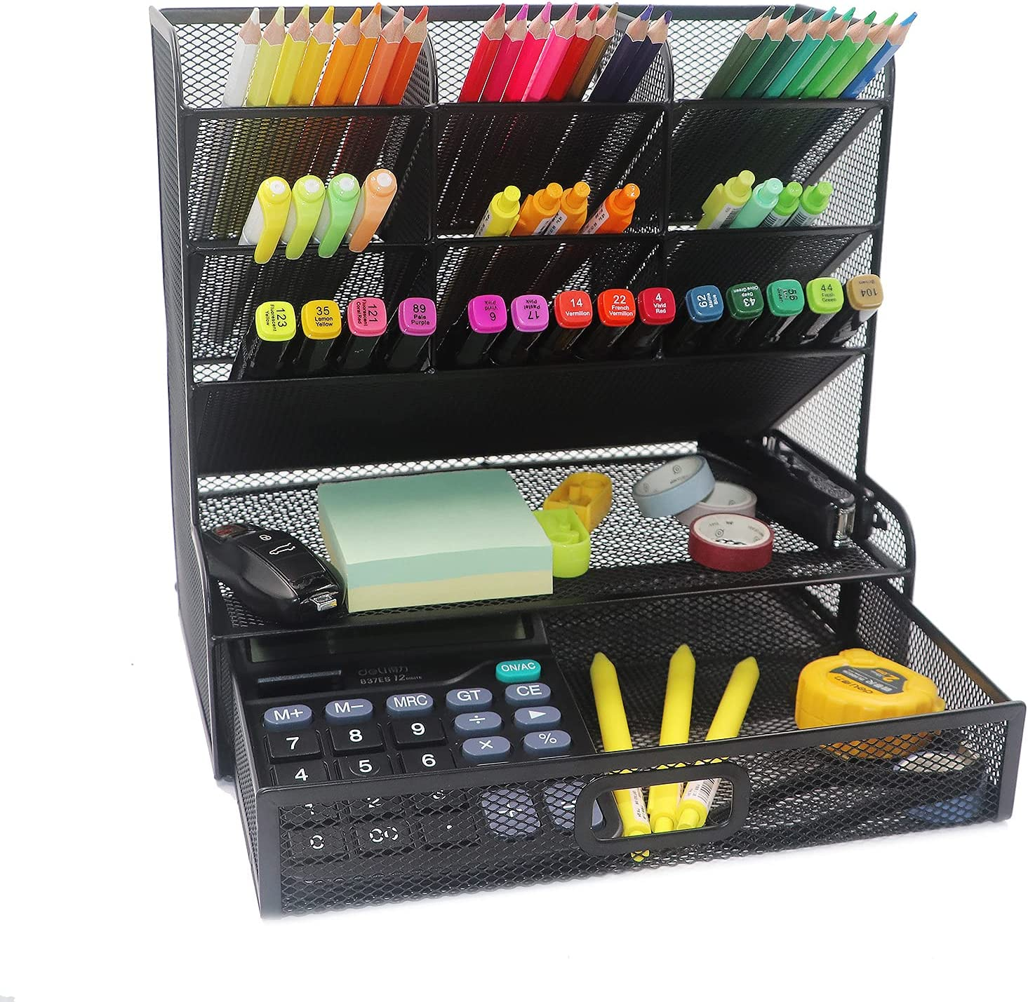 DALTACK Mesh Desk Organizer, Multi-Functional Pen Holder, Desktop Organizer Collection - 9 Compartments with A Storage Rack & Drawer - Markers Pen Holder for Office School Home Supply - Black