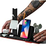 Combo Office HUB STEALTHO Desk Organizer - MacBook USB C Charger - iPhone QI Wireless Charger 10W - USB Type C HUB to HDMI USB 3 Micro SD Reader, includes Power Adapter 60W Thunderbolt 3 Cable (Black)